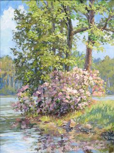 """Spring Festival""  24x18 in.   Acrylic on linen    Plein-air painting on location at Callaway Gardens, GA at the height of springs rhododendron blooming on a lovely lake."