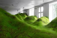 Norwegian artist fills an entire Oslo gallery with a huge grassy landscape