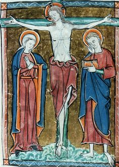 Christ crucified between the Virgin and St John. Psalter, late13th cent. [LPL MS368 f.11v.]