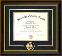 University of Central Florida - Diploma Frames : W/3-D Cutout - Black Suede on Gold - BA/BS. Click image to see more styles!
