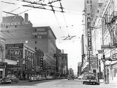 dtxmcclain:    Downtown Dallas, Elm at Harwood streets, 1950s
