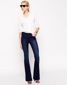 ASOS   ASOS Bell Flare Jeans in Deep Blue at ASOS