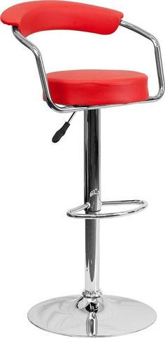 Contemporary Red Vinyl Adjustable Height Bar Stool with Arms and Chrome Base [CH-TC3-1060-RED-GG]