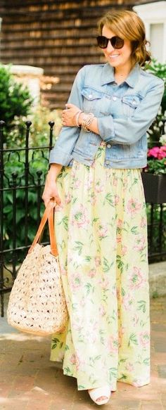 Street style - Yellow Cute Pastel Floral Maxi Dress (=)