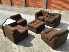 Milo Baughman Style Seven-Piece Group Modular Sofa Sectional, 1970s #MidCenturyModern