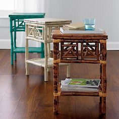I have a little table like this... Think I'll paint it! Royal blue? Orange? Bright green?