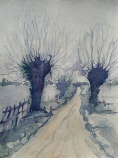 Willows, watercolor, 2017