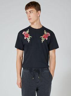 Black Rose Applique T-Shirt