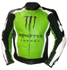 Kawasaki Monster Energy Leather Jacket, made from Top Grain Genuine Cowhide Milled leather 1.1-1.2mm, Speed Hump included. CE Certified Protection on Shoulders whereas Back & Elbows are padded with foam. Comes with Inner Mesh Lining, and Original YKK Zipper at Front & on cuffs.