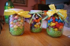 Easter Gifts....Mason jars...the lids were spray painted white just add a little green easter grass to the bottom and load it up with any kind of jelly bean you would like!! :))