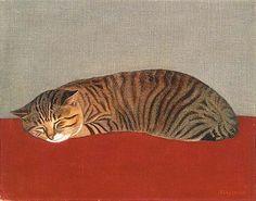 pop1280jt:    猫」1966年 宮城県美術館所蔵    長谷川潾二郎(はせがわりんじろう) 猫の絵には片方ヒゲが描かれていません。対象を目の前にしないと全く描けなかった長谷川。猫(名前はタロー)がこのポーズを 取ってくれるのタイミングを見計らいながら遅い筆を進めているうちに、何年も経ち猫がこの世を去ってしまったのだそうです。ヒゲを描き上げる前に。。。    弐代目・青い日記帳 から文章をお借りしました。  http://bluediary2.jugem.jp