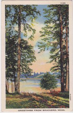 Greetings from Brainerd Minnesota 1936 Postcard