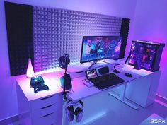 gaming setup Impressive Video Game Room Decoration Suggestions Super Awesome Video Game Room Ideas You Must See For Men Bedroom Gaming Setup, Gamer Setup, Gaming Room Setup, Pc Setup, Office Setup, Cheap Gaming Setup, Gaming Rooms, Computer Desk Setup, Pc Desk