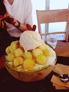Melon Ice flakes at I'm paul Daegu, South Korea