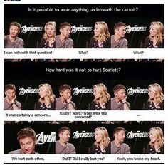 Jeremy Renner and Scarlett Johansson. They are literally the cutest people on Midgard, they really are! Avengers Cast, Marvel Avengers, Marvel Memes, Marvel Dc Comics, Clintasha, Hulk, Dc Movies, Clint Barton, Marvel Actors