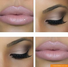 Subtle eye, gorgeous pink nude lip. Love it!