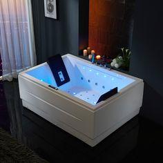 71 Modern Luxury Acrylic Corner Whirlpool Air Massage Bathtub Rectangular 3 Sided Apron Tub in White Chromatherapy LED Jacuzzi Bathtub, Whirlpool Bathtub, Big Bathtub, Spa Tub, Soaking Bathtubs, Bathroom Interior, Modern Bathroom, Bathroom Ideas, Beach Cottages