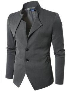 Mens Unbalanced Blazer Jacket