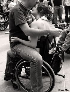 Disabled People Are Sexy, diversexity: I love the embrace between these folks...A beautiful couple. So sweet.