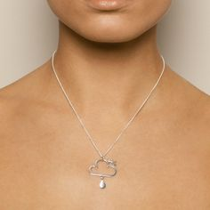Nicole Van Der Wolf Sunny Spells Cloud Rain Drop Silver Necklace