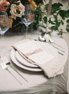 Fall wedding place setting neutral tablescape  Neutral linen napkin grey tablecloth silver flatware silverware   Autumn Wedding Inspiration at the Mill at Fine Creek by Richmond Virginia Wedding Planner East Made Event Company and Michael and Carina Photography