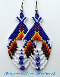Native American Beaded Earrings Tipis Dark Blue by CheyenneNoon Beaded Earrings Native, Beaded Earrings Patterns, Native Beadwork, Seed Bead Earrings, Beading Patterns, Beaded Jewelry, Aztec Earrings, Native American Earrings, Native American Beadwork