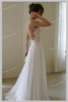 Custom Made Floor Length Backless Lace Wedding by Fantacydress