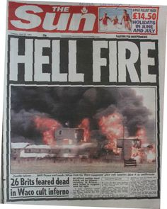 2 Waco cult siege ends with inferno. Eight cult members escaped but David… Newspaper Front Pages, Newspaper Cover, Newspaper Headlines, Old Newspaper, Trivia Of The Day, Historic Newspapers, Shocking News, Headline News