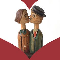 Romantic Kissing Couple Carved Wooden Folk Art by ihearthomeliving, $30.00