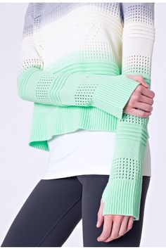 Gray-white-green sweater