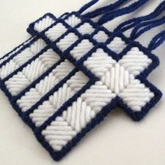Blue & White Cross Decorations set of 6 Plastic Canvas Stitches, Plastic Canvas Coasters, Plastic Canvas Ornaments, Plastic Canvas Tissue Boxes, Plastic Canvas Christmas, Plastic Canvas Crafts, Plastic Canvas Patterns, Yarn Crafts, Sewing Crafts
