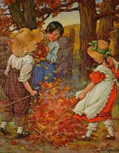 """Illustration By Clara M. Burd From """"A Child's Garden Of Verses, Seasons"""" Fine Art Prints, Framed Prints, Canvas Prints, Fall Clip Art, Autumn Trees, Poster Size Prints, Illustrators, Sketches, Leaves"""