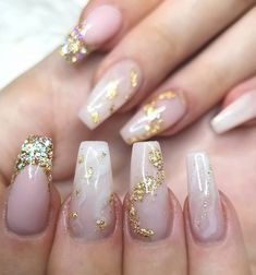 Cute nude gel nails with gold foil flakes design Aqua Nails, Gold Acrylic Nails, Acrylic Nails Coffin Short, Simple Acrylic Nails, Coffin Nails, Cute Nails, Pretty Nails, Foil Nails, Nails With Foil