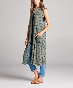 Loving this Olive Stripe Pocket Sleeveless Open Duster on #zulily! #zulilyfinds