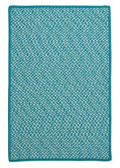 Outdoor Houndstooth Tweed Turquoise Area Rug