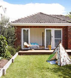 my design ethos: January 2012 bifold exterior doors Bifold Exterior Doors, Garden Furniture, Outdoor Gardens, Gazebo, My Design, Backyard, Outdoor Structures, Decking, House Styles