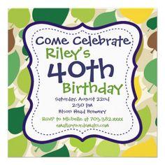 Purple Green Leaf 40th Birthday Party Invitation
