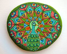 Hand Painted Peacock design on Beach Stone