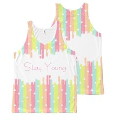 cute rainbow stripes hearts pattern All-Over print tank top