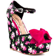 Let your inner diva shine in the Barbara by CeCe Lamour. A fun floral print covers the entire style including the ankle strap, 5 inch wedge and 1 inch platform. A bright pink flat suede bow adorns the vamp for a pretty look. Dream Shoes, Crazy Shoes, Cute Shoes, Me Too Shoes, Awesome Shoes, Wedge Shoes, Shoes Heels, Nylons, Zapatos Shoes