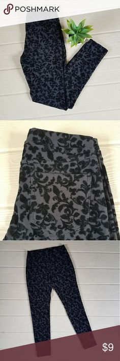 Velvet Embossed Black Jeggings Black Jeggings with a flocked velvet pattern. Front pockets are for design only; back pockets are functional. Medium weight 59% cotton, 34% polyester, and 7% spandex. Very good condition with no flaws. Size medium in junior's but these run small. Xhilaration Pants Leggings
