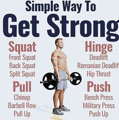 SIMPLEST WAY TO GET STRONG - If you want to get strong heres the winning formula: - Low variety of exercises. Dont use all these different exercises to confuse your muscles. Stick with a few big compound exercises for each movement: squat hinge pull Muscle Fitness, Gain Muscle, Fitness Tips, Fitness Motivation, Muscle Food, Health Fitness, Build Muscle, Fitness Gear, Weight Training Workouts
