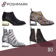 Major ISO! My Jeffrey Campbell obsession continues, and I'm dying to get my hands on all 4 of these pairs of booties, size 9 or 9.5. I could probably even make a 10 work because I love them so much! Looking for an EUC pair, or preferably new. Not interested in defective or mismatched shoes. Please tag me if you're selling, or know anyone who is! Jeffrey Campbell Shoes Ankle Boots & Booties