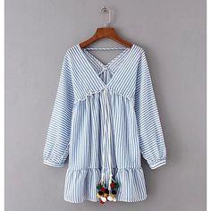 Women's Cute Loose Dress - Striped, Print V Neck 2018 - €13.08