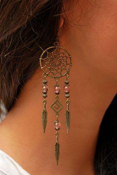 b9283dae5e12 Boho Dream Catcher earrings hippie earrings by Estibela on Etsy Joyería  Alambre