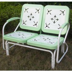 Retro Outdoor Glider Vintage Bench Patio Chair Outside Furniture Mint Green Yard Outdoor Glider, Patio Glider, Glider Chair, Patio Rocking Chairs, Wicker Chairs, Patio Chairs, Patio Bar, Ikea Patio, Metal Lawn Chairs