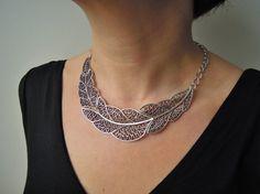 Feather Necklace  choker necklace  Bib Necklace by ebrukjewelry