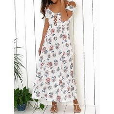 Wholesale Elegant Printed Cold Shoulder Women's Maxi Dress Only $15.67 Drop Shipping | TrendsGal.com