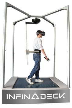 Infinadeck is a omnidirectional treadmill that works with VR headsets to take you further into another dimension