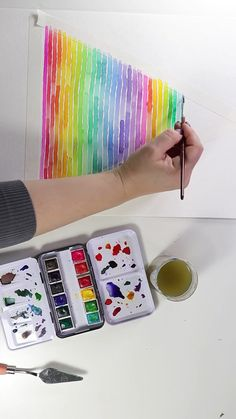 Watercolor Rainbow Stripes by Josie Lewis Check out this beautiful 12 color travel watercolor set! Abstract Watercolor, Watercolor Paintings, Watercolors, Painting Inspiration, Art Inspo, Cool Pattern Designs, Art Sketches, Art Drawings, Rainbow Painting